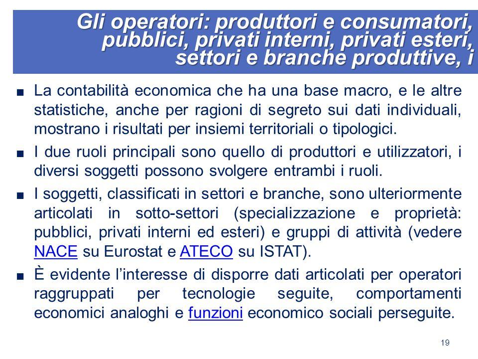 Gli operatori: produttori e consumatori, pubblici, privati interni, privati esteri, settori e branche produttive, i ■ La contabilità economica che ha