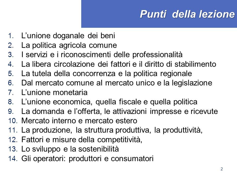 Punti della lezione 1. L'unione doganale dei beni 2. La politica agricola comune 3. I servizi e i riconoscimenti delle professionalità 4. La libera ci