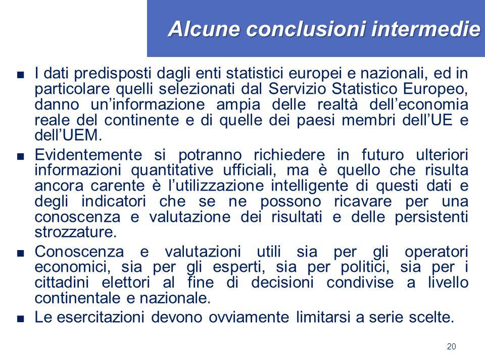 Alcune conclusioni intermedie ■ I dati predisposti dagli enti statistici europei e nazionali, ed in particolare quelli selezionati dal Servizio Statis