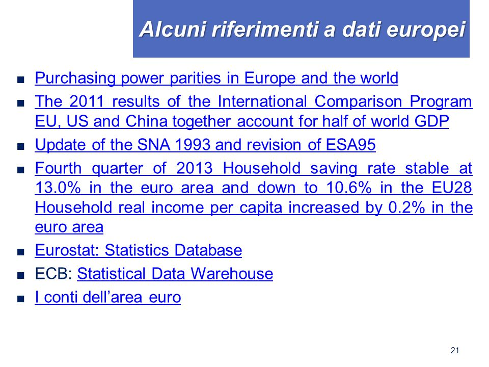 Alcuni riferimenti a dati europei ■ Purchasing power parities in Europe and the world Purchasing power parities in Europe and the world ■ The 2011 results of the International Comparison Program EU, US and China together account for half of world GDP The 2011 results of the International Comparison Program EU, US and China together account for half of world GDP ■ Update of the SNA 1993 and revision of ESA95 Update of the SNA 1993 and revision of ESA95 ■ Fourth quarter of 2013 Household saving rate stable at 13.0% in the euro area and down to 10.6% in the EU28 Household real income per capita increased by 0.2% in the euro area Fourth quarter of 2013 Household saving rate stable at 13.0% in the euro area and down to 10.6% in the EU28 Household real income per capita increased by 0.2% in the euro area ■ Eurostat: Statistics Database Eurostat: Statistics Database ■ ECB: Statistical Data WarehouseStatistical Data Warehouse ■ I conti dell'area euro I conti dell'area euro 21