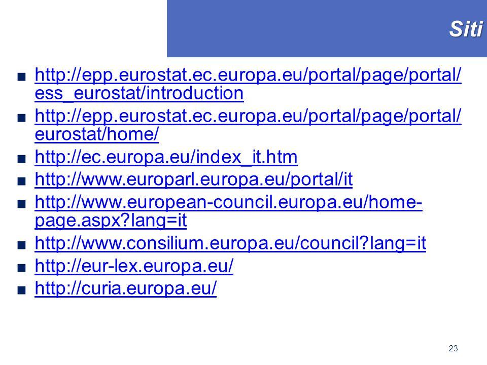 Siti ■ http://epp.eurostat.ec.europa.eu/portal/page/portal/ ess_eurostat/introduction http://epp.eurostat.ec.europa.eu/portal/page/portal/ ess_eurostat/introduction ■ http://epp.eurostat.ec.europa.eu/portal/page/portal/ eurostat/home/ http://epp.eurostat.ec.europa.eu/portal/page/portal/ eurostat/home/ ■ http://ec.europa.eu/index_it.htm http://ec.europa.eu/index_it.htm ■ http://www.europarl.europa.eu/portal/it http://www.europarl.europa.eu/portal/it ■ http://www.european-council.europa.eu/home- page.aspx lang=it http://www.european-council.europa.eu/home- page.aspx lang=it ■ http://www.consilium.europa.eu/council lang=it http://www.consilium.europa.eu/council lang=it ■ http://eur-lex.europa.eu/ http://eur-lex.europa.eu/ ■ http://curia.europa.eu/ http://curia.europa.eu/ 23