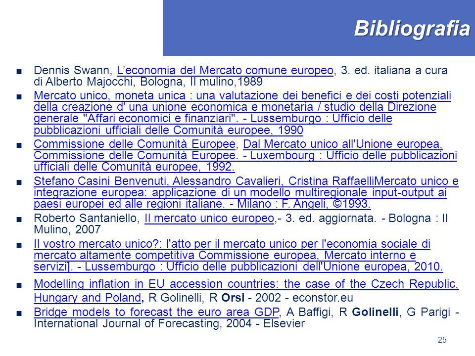 Bibliografia ■ Dennis Swann, L'economia del Mercato comune europeo, 3. ed. italiana a cura di Alberto Majocchi, Bologna, Il mulino,1989L'economia del