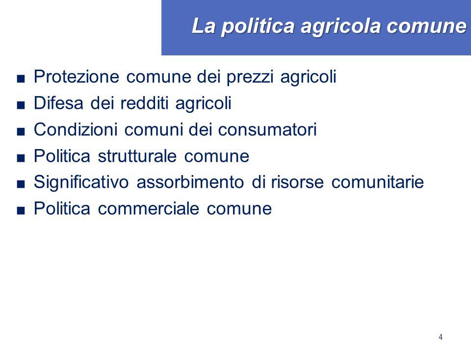 La politica agricola comune ■ Protezione comune dei prezzi agricoli ■ Difesa dei redditi agricoli ■ Condizioni comuni dei consumatori ■ Politica strutturale comune ■ Significativo assorbimento di risorse comunitarie ■ Politica commerciale comune 4