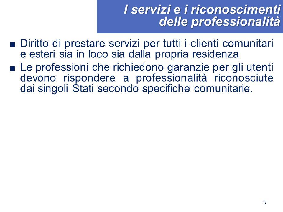 I servizi e i riconoscimenti delle professionalità ■ Diritto di prestare servizi per tutti i clienti comunitari e esteri sia in loco sia dalla propria