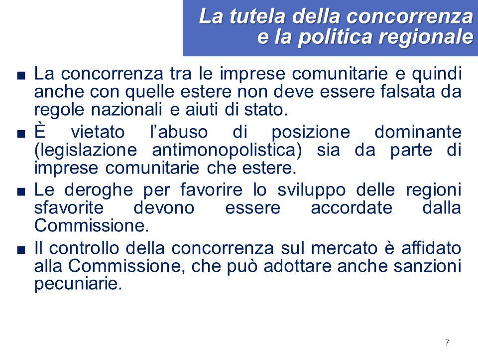 La tutela della concorrenza e la politica regionale ■ La concorrenza tra le imprese comunitarie e quindi anche con quelle estere non deve essere falsata da regole nazionali e aiuti di stato.
