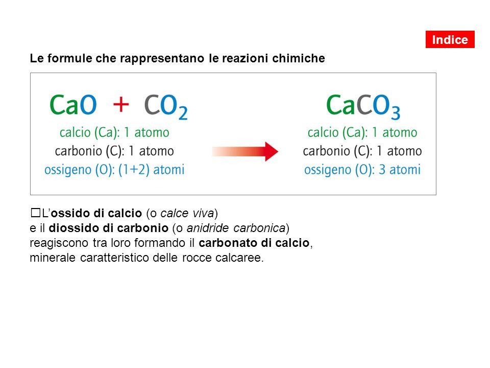 Le formule che rappresentano le reazioni chimiche L'ossido di calcio (o calce viva) e il diossido di carbonio (o anidride carbonica) reagiscono tra loro formando il carbonato di calcio, minerale caratteristico delle rocce calcaree.