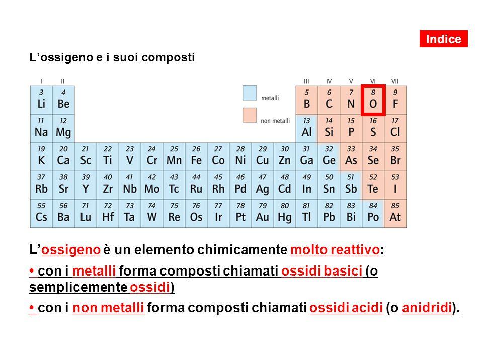 L'ossigeno e i suoi composti L'ossigeno è un elemento chimicamente molto reattivo: con i metalli forma composti chiamati ossidi basici (o semplicemente ossidi) con i non metalli forma composti chiamati ossidi acidi (o anidridi).