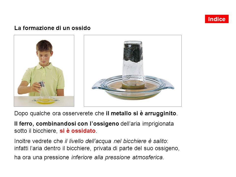 La formazione di un ossido Inumidite un po' di lana di acciaio (che contiene ferro) e schiacciatela al fondo di un bicchiere.