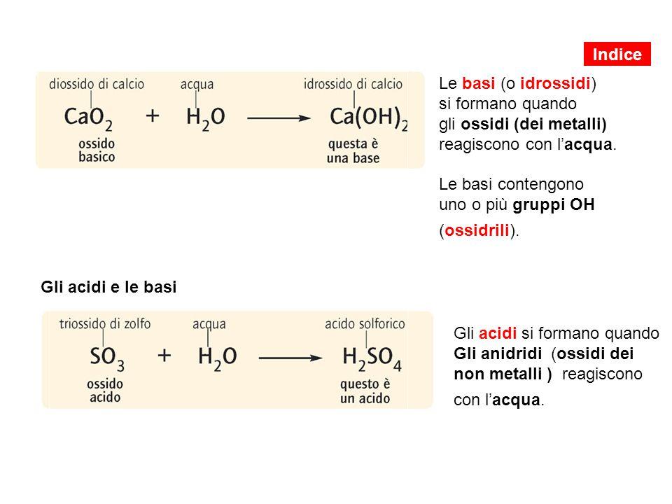 Gli acidi e le basi Gli acidi si formano quando Gli anidridi (ossidi dei non metalli ) reagiscono con l'acqua.