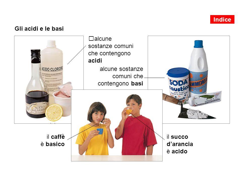 Gli acidi e le basi alcune sostanze comuni che contengono acidi alcune sostanze comuni che contengono basi il caffè è basico il succo d'arancia è acido Indice