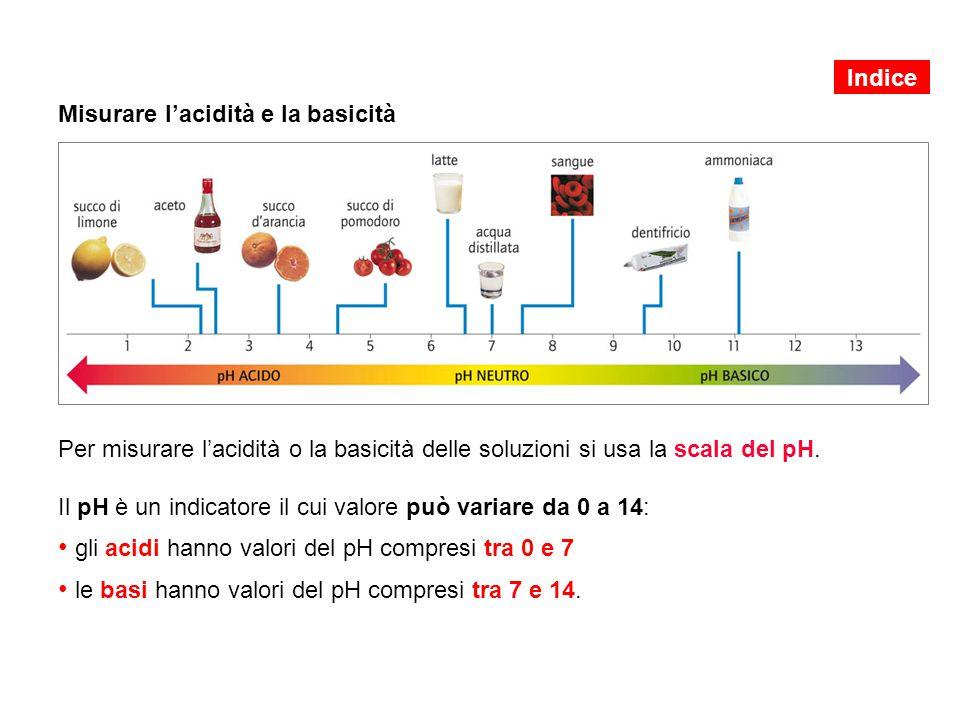 Misurare l'acidità e la basicità Per misurare l'acidità o la basicità delle soluzioni si usa la scala del pH.