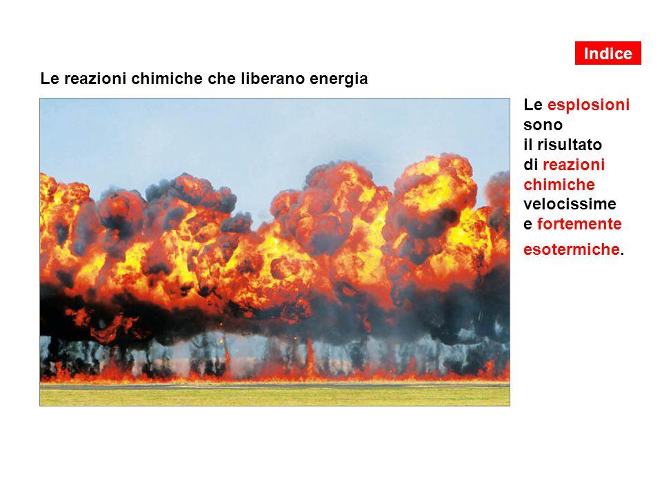 Le reazioni chimiche che liberano energia Le esplosioni sono il risultato di reazioni chimiche velocissime e fortemente esotermiche.