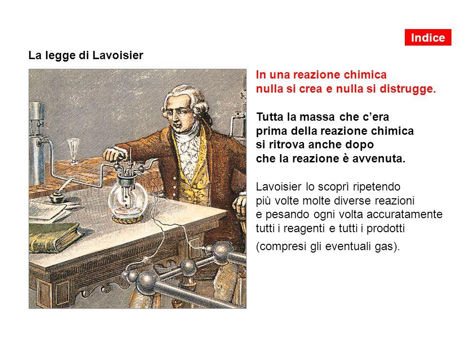 La legge di Lavoisier In una reazione chimica nulla si crea e nulla si distrugge.
