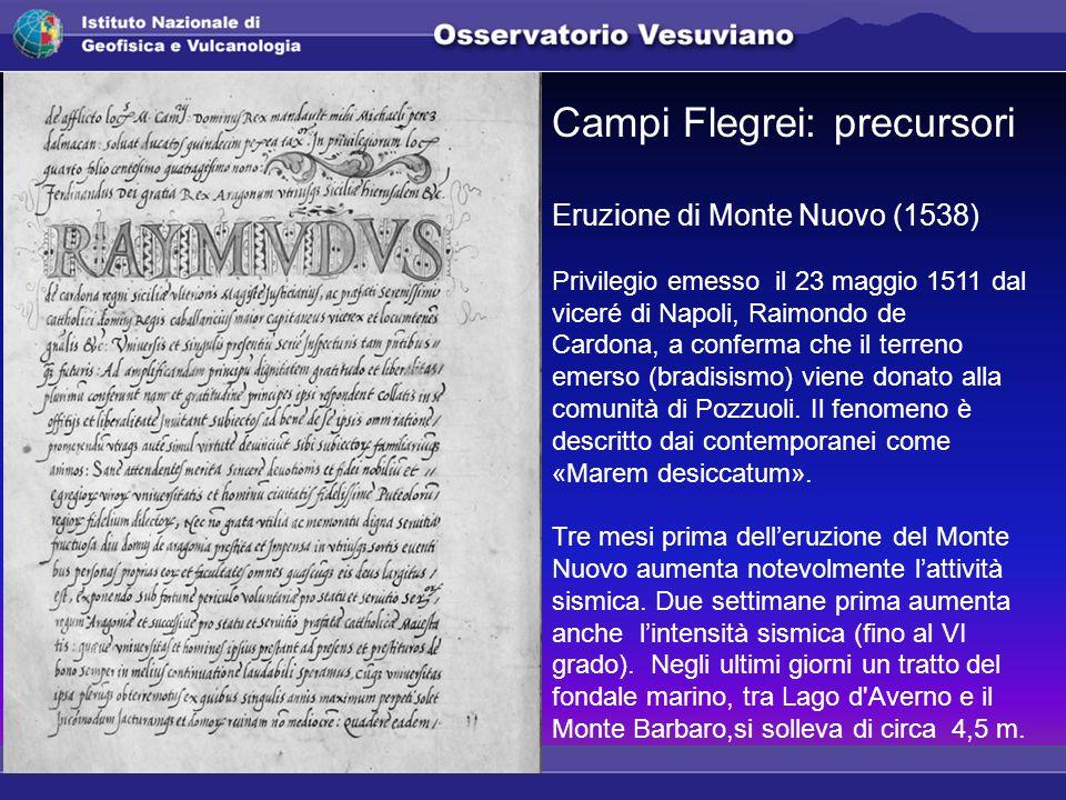 Campi Flegrei: precursori Eruzione di Monte Nuovo (1538) Privilegio emesso il 23 maggio 1511 dal viceré di Napoli, Raimondo de Cardona, a conferma che il terreno emerso (bradisismo) viene donato alla comunità di Pozzuoli.
