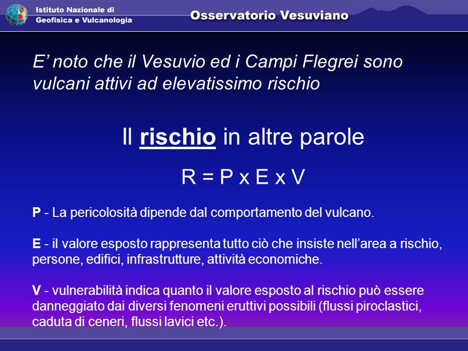 E' noto che il Vesuvio ed i Campi Flegrei sono vulcani attivi ad elevatissimo rischio Il rischio in altre parole R = P x E x V P - La pericolosità dipende dal comportamento del vulcano.