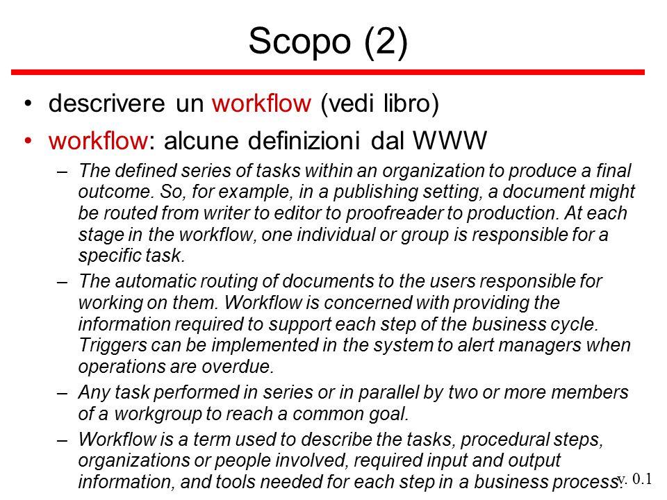 v. 0.1 Scopo (2) descrivere un workflow (vedi libro) workflow: alcune definizioni dal WWW –The defined series of tasks within an organization to produ