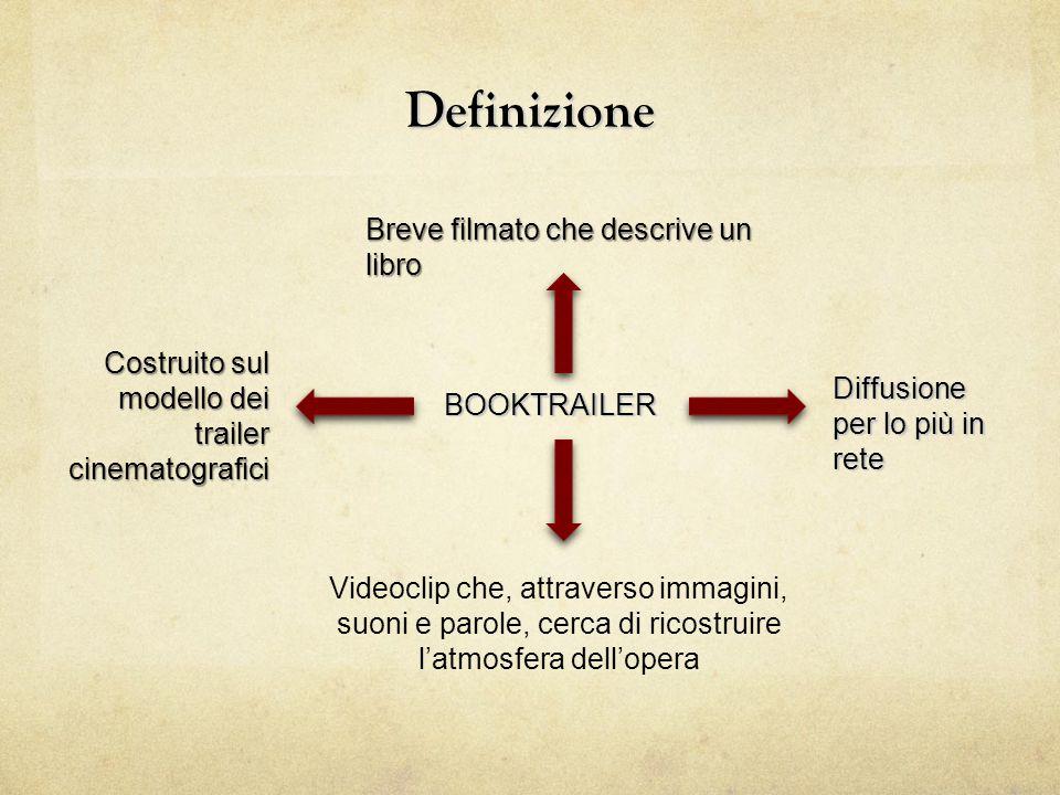 Definizione BOOKTRAILER Breve filmato che descrive un libro Videoclip che, attraverso immagini, suoni e parole, cerca di ricostruire l'atmosfera dell'opera Costruito sul modello dei trailer cinematografici Diffusione per lo più in rete