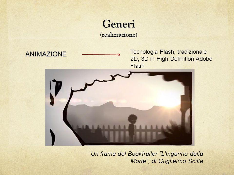 Generi (realizzazione) FUMETTO Un frame del Booktrailer Racconti per Ascensore , di Marco Petrella Sistema di rappresentazione basato su illustrazioni (vignette)