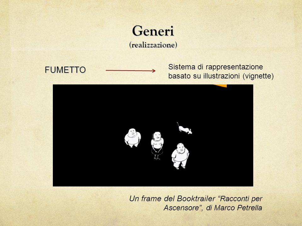 """Generi (realizzazione) FUMETTO Un frame del Booktrailer """" Racconti per Ascensore"""", di Marco Petrella Sistema di rappresentazione basato su illustrazio"""