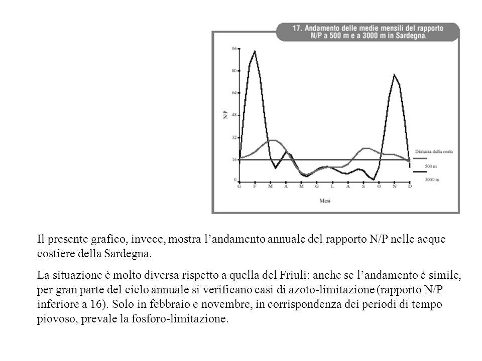 Il presente grafico, invece, mostra l'andamento annuale del rapporto N/P nelle acque costiere della Sardegna. La situazione è molto diversa rispetto a