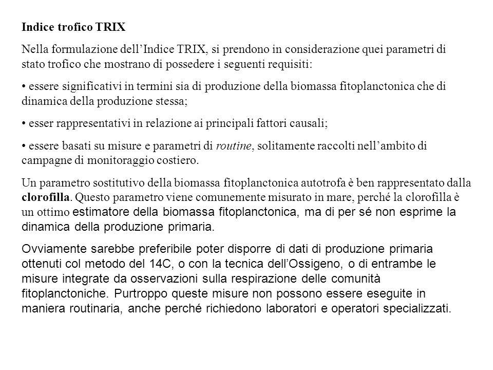 Indice trofico TRIX Nella formulazione dell'Indice TRIX, si prendono in considerazione quei parametri di stato trofico che mostrano di possedere i seg