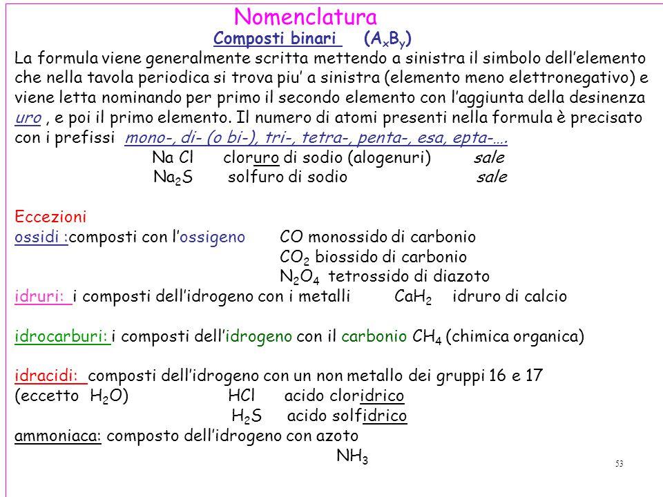53 Composti binari (A x B y ) La formula viene generalmente scritta mettendo a sinistra il simbolo dell'elemento che nella tavola periodica si trova piu' a sinistra (elemento meno elettronegativo) e viene letta nominando per primo il secondo elemento con l'aggiunta della desinenza uro, e poi il primo elemento.