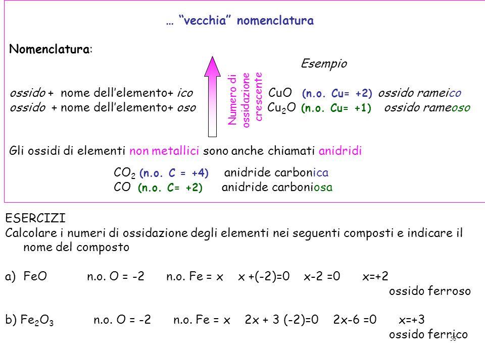 56 … vecchia nomenclatura Nomenclatura: Esempio ossido + nome dell'elemento+ ico CuO (n.o.