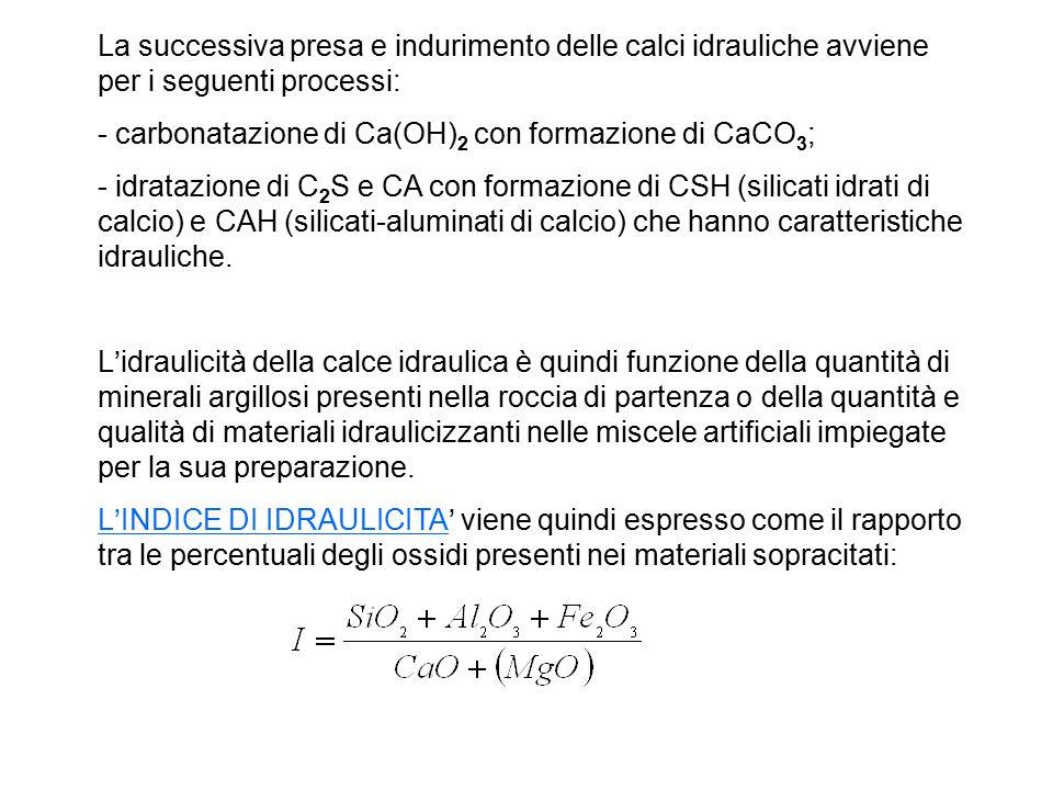 La successiva presa e indurimento delle calci idrauliche avviene per i seguenti processi: - carbonatazione di Ca(OH) 2 con formazione di CaCO 3 ; - id