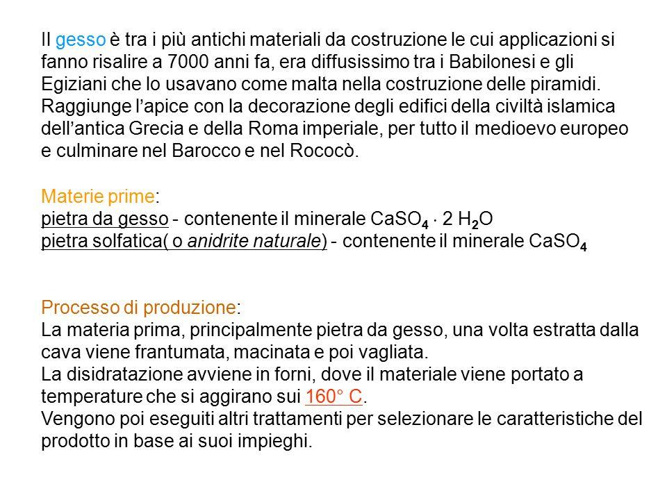 Materie prime: pietra da gesso - contenente il minerale CaSO 4  2 H 2 O pietra solfatica( o anidrite naturale) - contenente il minerale CaSO 4 Proces