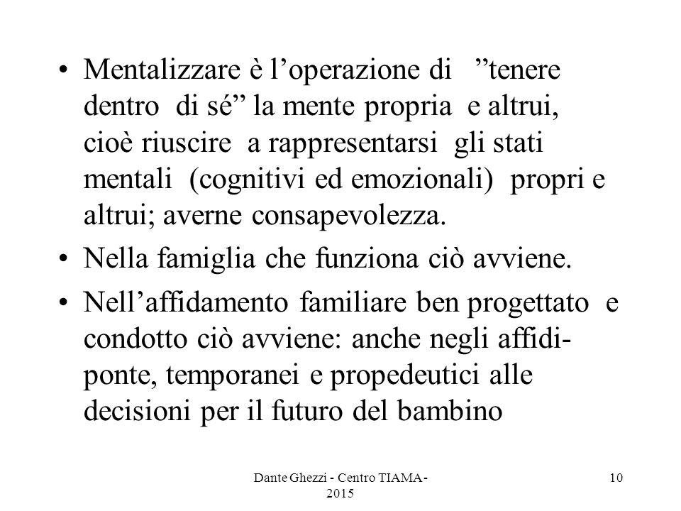 """Mentalizzare è l'operazione di """"tenere dentro di sé"""" la mente propria e altrui, cioè riuscire a rappresentarsi gli stati mentali (cognitivi ed emozion"""