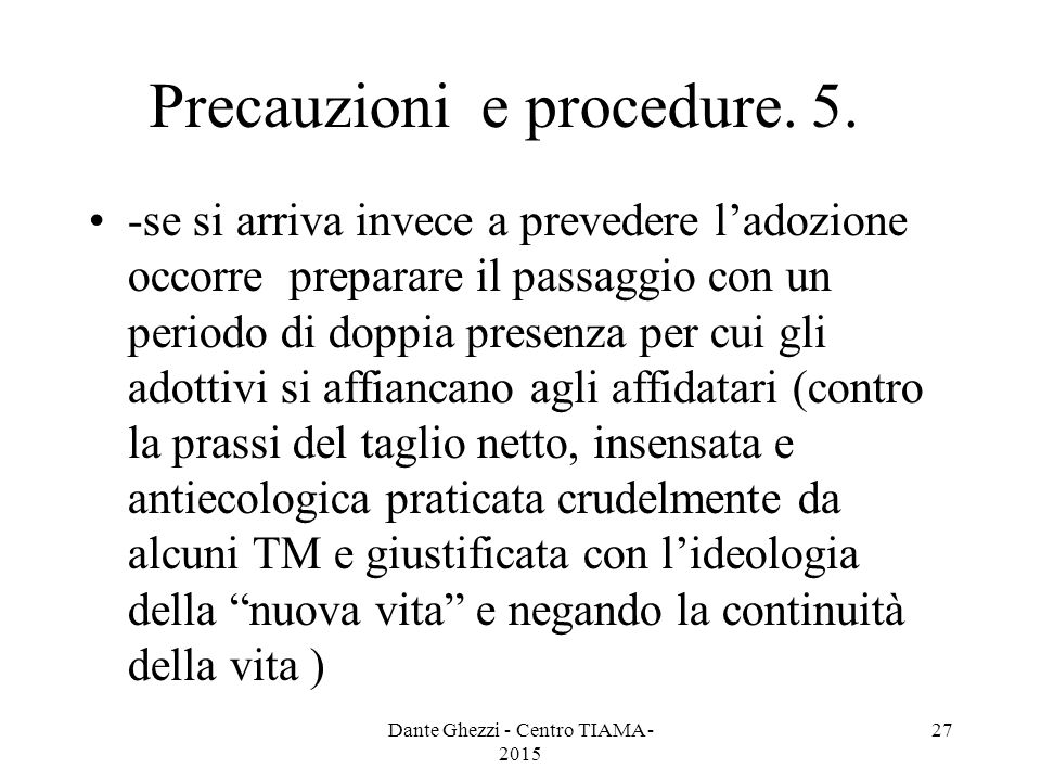 Precauzioni e procedure.5.