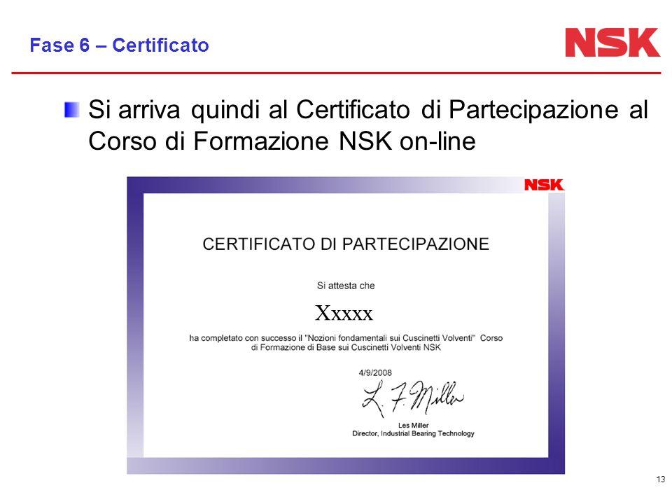 13 Fase 6 – Certificato Si arriva quindi al Certificato di Partecipazione al Corso di Formazione NSK on-line Xxxxx