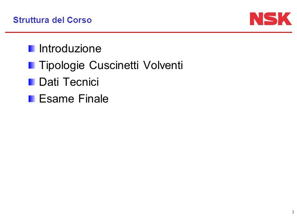 3 Struttura del Corso Introduzione Tipologie Cuscinetti Volventi Dati Tecnici Esame Finale