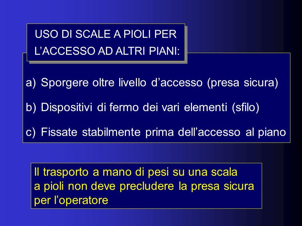 a)Sporgere oltre livello d'accesso (presa sicura) b)Dispositivi di fermo dei vari elementi (sfilo) c)Fissate stabilmente prima dell'accesso al piano USO DI SCALE A PIOLI PER L'ACCESSO AD ALTRI PIANI: USO DI SCALE A PIOLI PER L'ACCESSO AD ALTRI PIANI: Il trasporto a mano di pesi su una scala a pioli non deve precludere la presa sicura per l'operatore