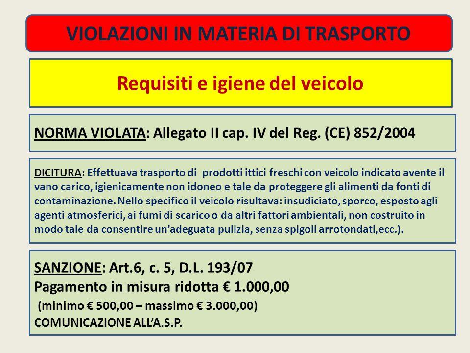 NORMA VIOLATA: Allegato II cap.IV del Reg.