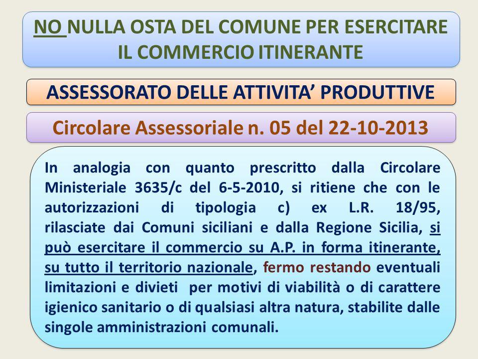 NO NULLA OSTA DEL COMUNE PER ESERCITARE IL COMMERCIO ITINERANTE ASSESSORATO DELLE ATTIVITA' PRODUTTIVE Circolare Assessoriale n.