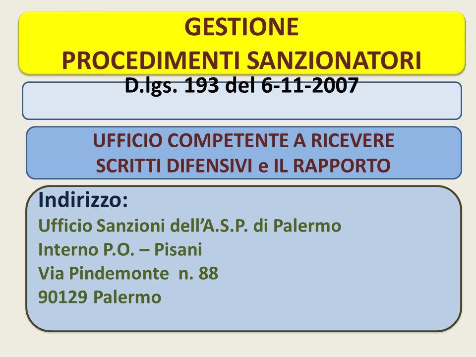 Indirizzo: Ufficio Sanzioni dell'A.S.P.di Palermo Interno P.O.
