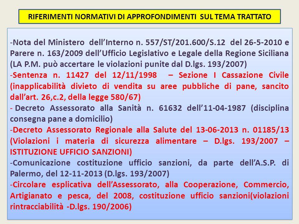 -Nota del Ministero dell'Interno n.557/ST/201.600/S.12 del 26-5-2010 e Parere n.