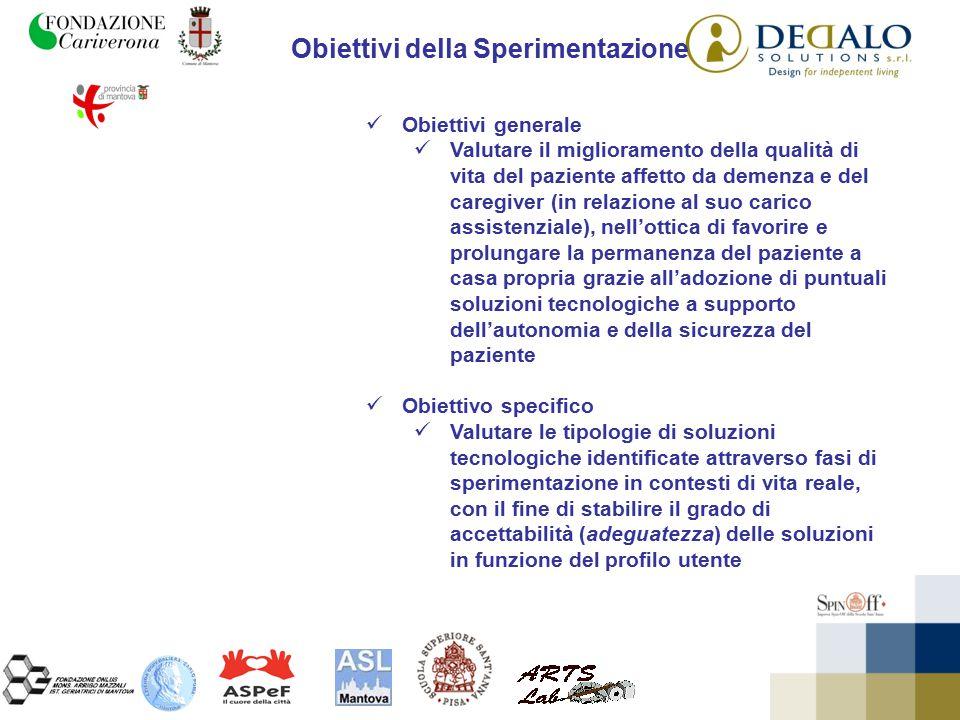 Obiettivi della Sperimentazione Obiettivi generale Valutare il miglioramento della qualità di vita del paziente affetto da demenza e del caregiver (in