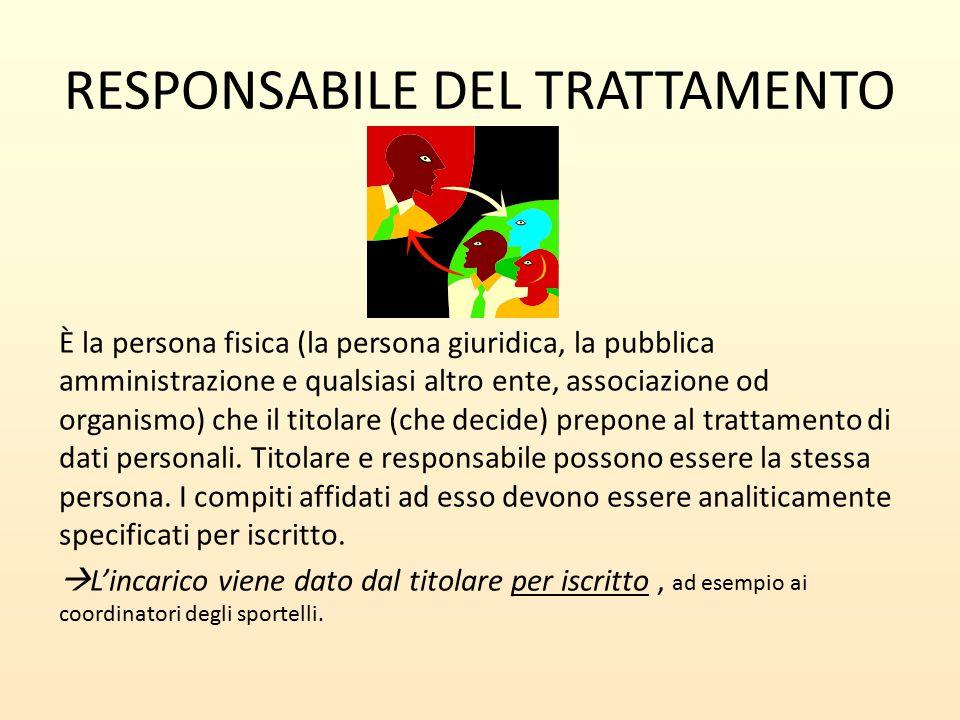 RESPONSABILE DEL TRATTAMENTO È la persona fisica (la persona giuridica, la pubblica amministrazione e qualsiasi altro ente, associazione od organismo)
