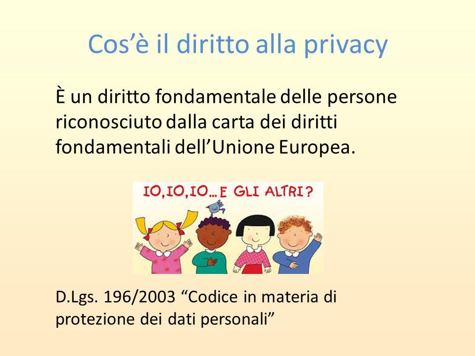 Cos'è il diritto alla privacy È un diritto fondamentale delle persone riconosciuto dalla carta dei diritti fondamentali dell'Unione Europea. D.Lgs. 19