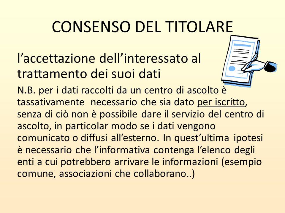 CONSENSO DEL TITOLARE l'accettazione dell'interessato al trattamento dei suoi dati N.B. per i dati raccolti da un centro di ascolto è tassativamente n