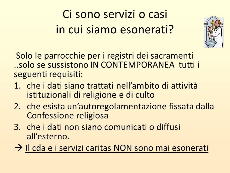 Ci sono servizi o casi in cui siamo esonerati? Solo le parrocchie per i registri dei sacramenti..solo se sussistono IN CONTEMPORANEA tutti i seguenti