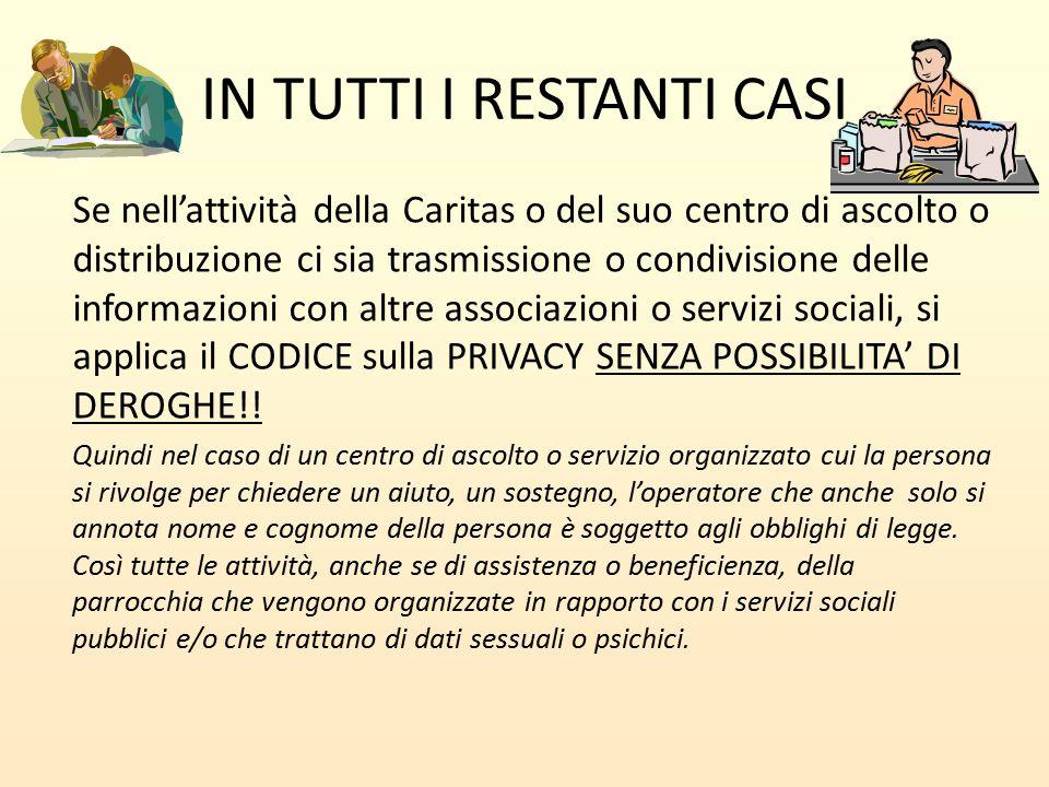 IN TUTTI I RESTANTI CASI Se nell'attività della Caritas o del suo centro di ascolto o distribuzione ci sia trasmissione o condivisione delle informazi