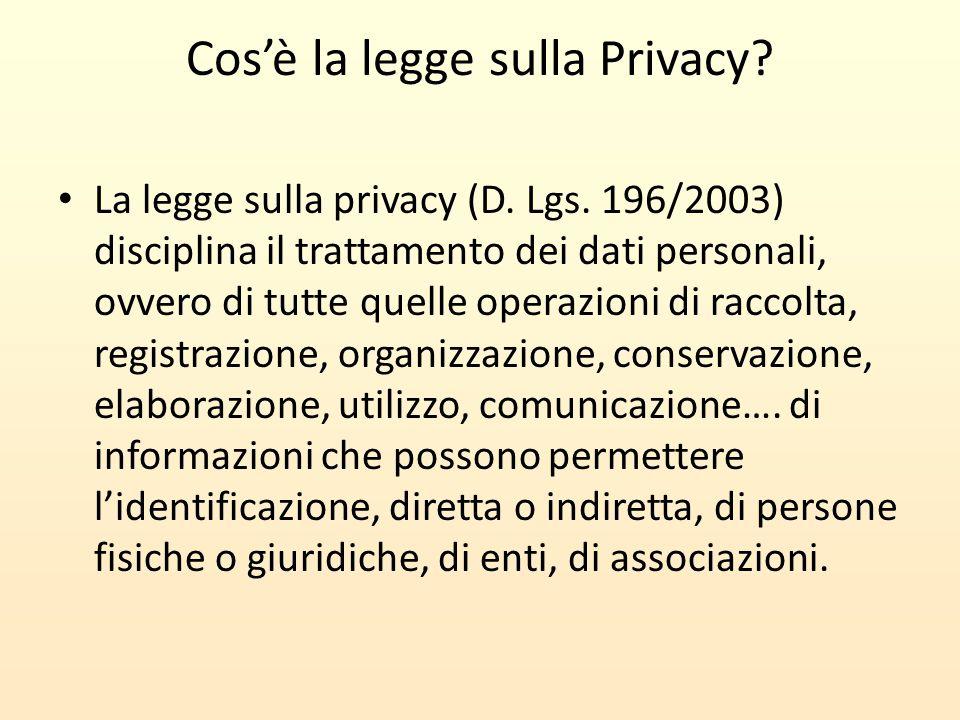 Cos'è la legge sulla Privacy? La legge sulla privacy (D. Lgs. 196/2003) disciplina il trattamento dei dati personali, ovvero di tutte quelle operazion