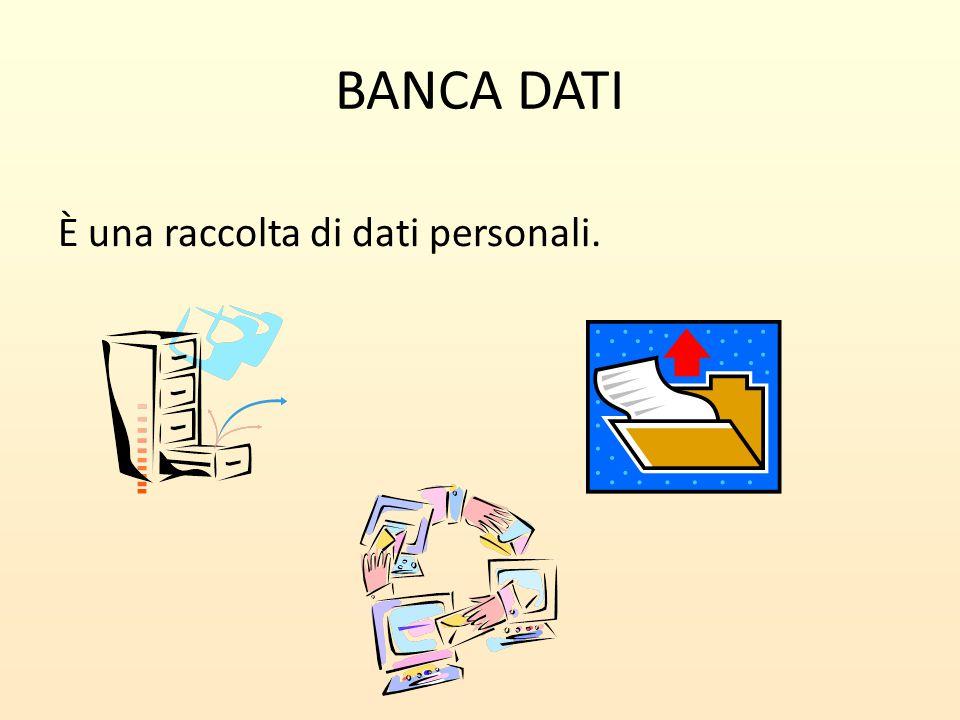 BANCA DATI È una raccolta di dati personali.