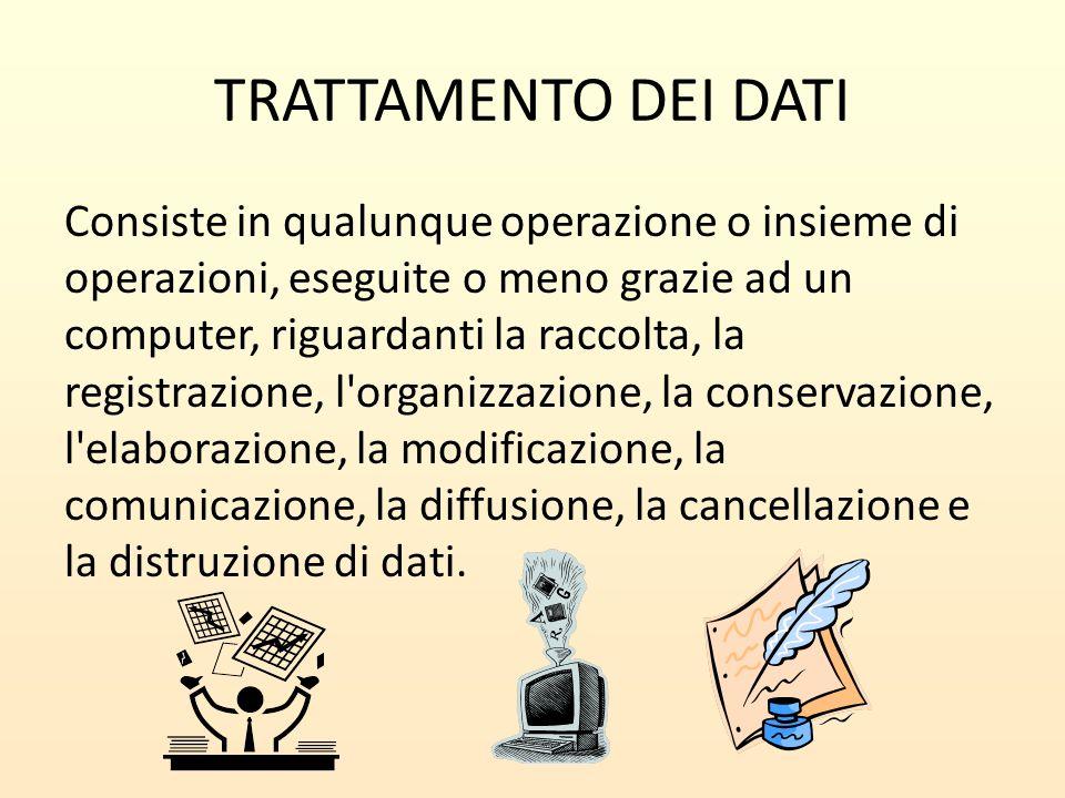 TRATTAMENTO DEI DATI Consiste in qualunque operazione o insieme di operazioni, eseguite o meno grazie ad un computer, riguardanti la raccolta, la regi