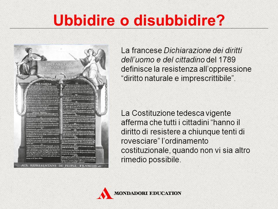 """Ubbidire o disubbidire? La francese Dichiarazione dei diritti dell'uomo e del cittadino del 1789 definisce la resistenza all'oppressione """"diritto natu"""