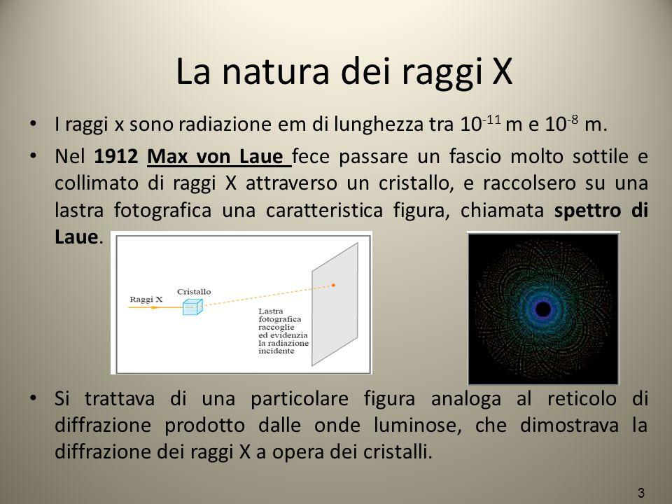 La natura dei raggi X I raggi x sono radiazione em di lunghezza tra 10 -11 m e 10 -8 m. Nel 1912 Max von Laue fece passare un fascio molto sottile e c