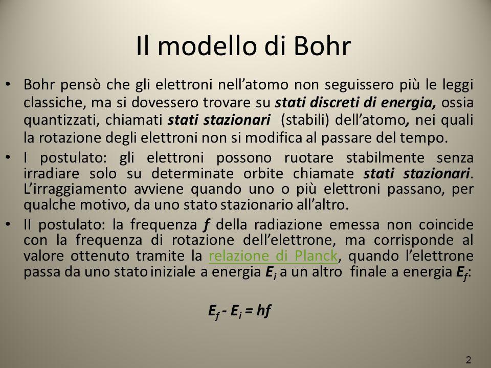 Il modello di Bohr Bohr pensò che gli elettroni nell'atomo non seguissero più le leggi classiche, ma si dovessero trovare su stati discreti di energia